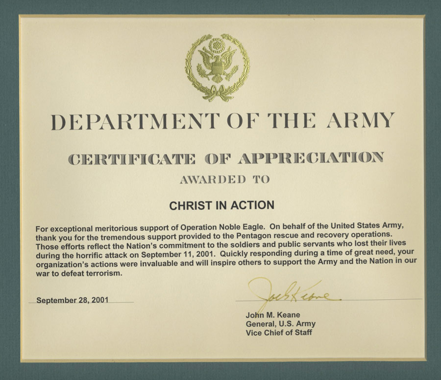 U.S. Army Certificate Of Appreciation | 28 Sep 2001