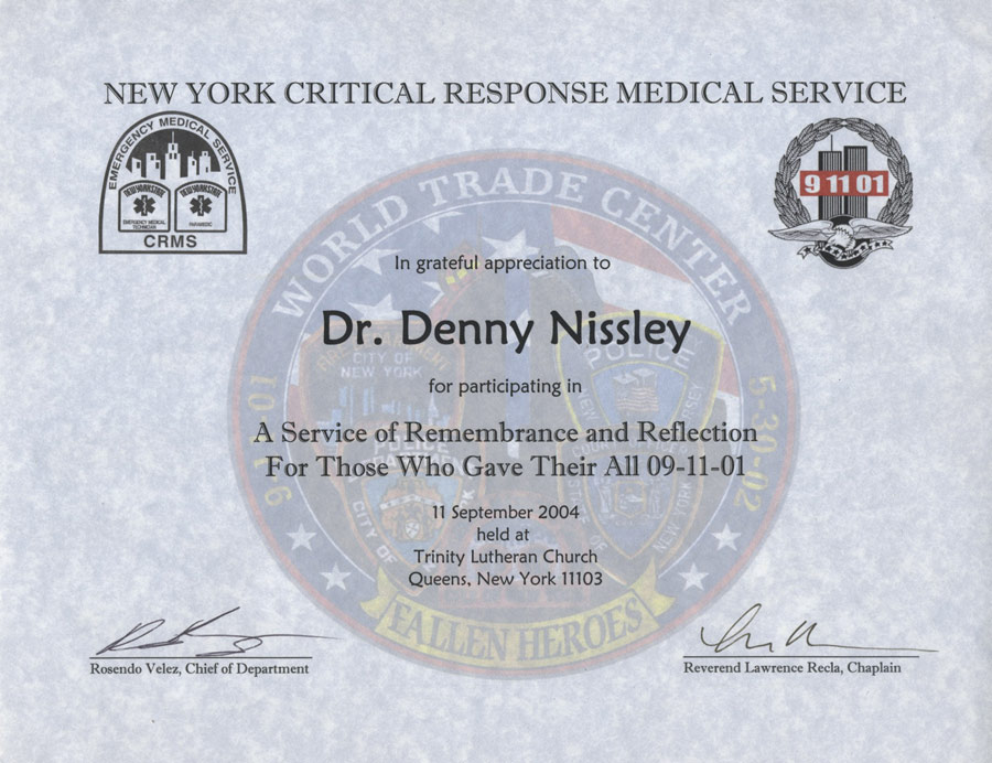 Bringing hope to americas families christ in action new york critical response medical service certificate 11 sep 2004 yadclub Gallery