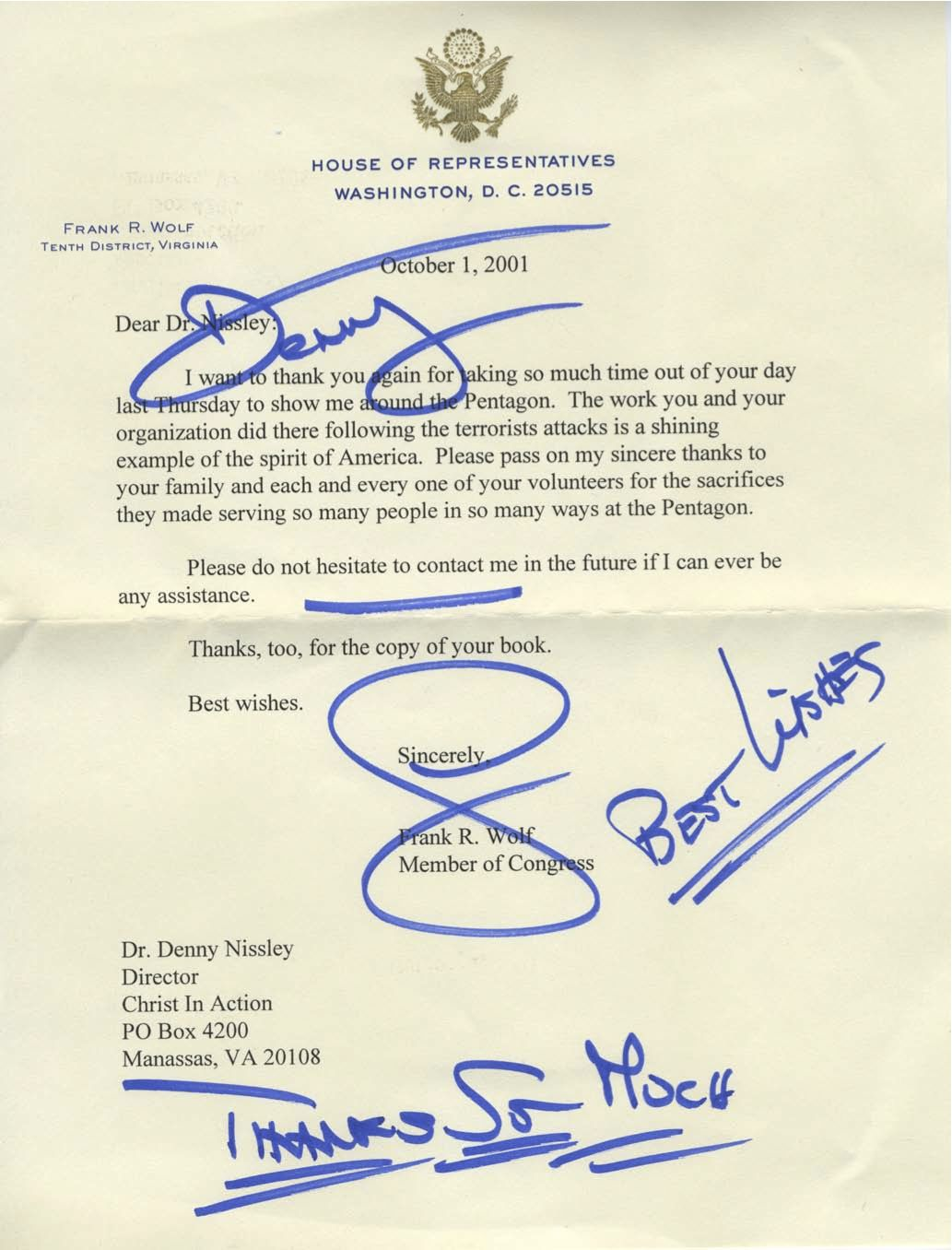 Bringing hope to americas families christ in action letter from congressman frank r wolf 01 oct 2001 altavistaventures Images