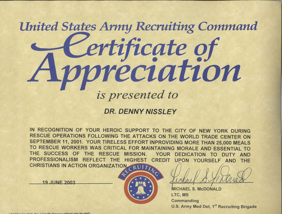 Bringing Hope to Americas Families Christ In Action – Army Certificate of Appreciation